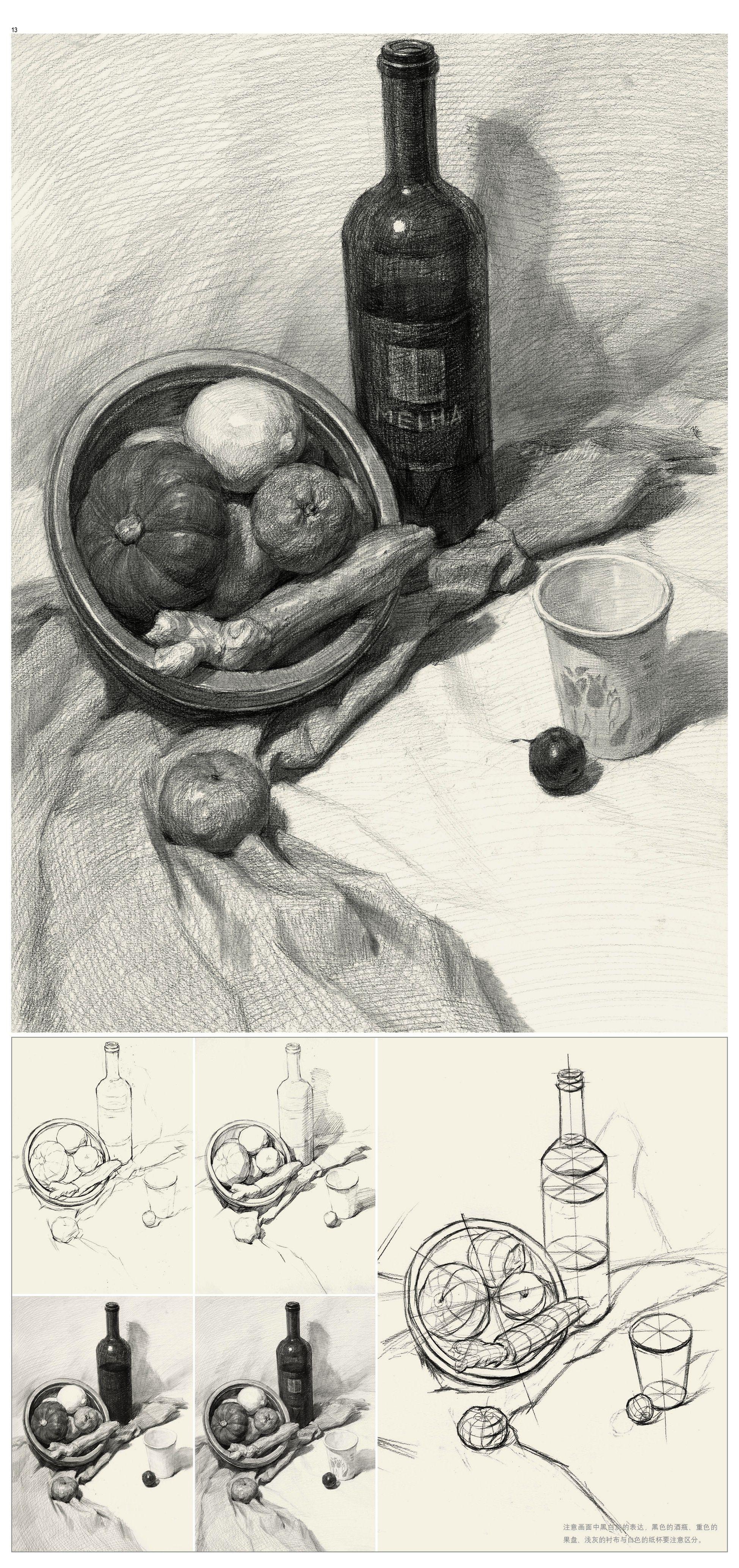静物素描 范画 步骤 竖构图 南瓜 橘子 纸杯 红酒瓶 姜 柠檬 不锈钢盆