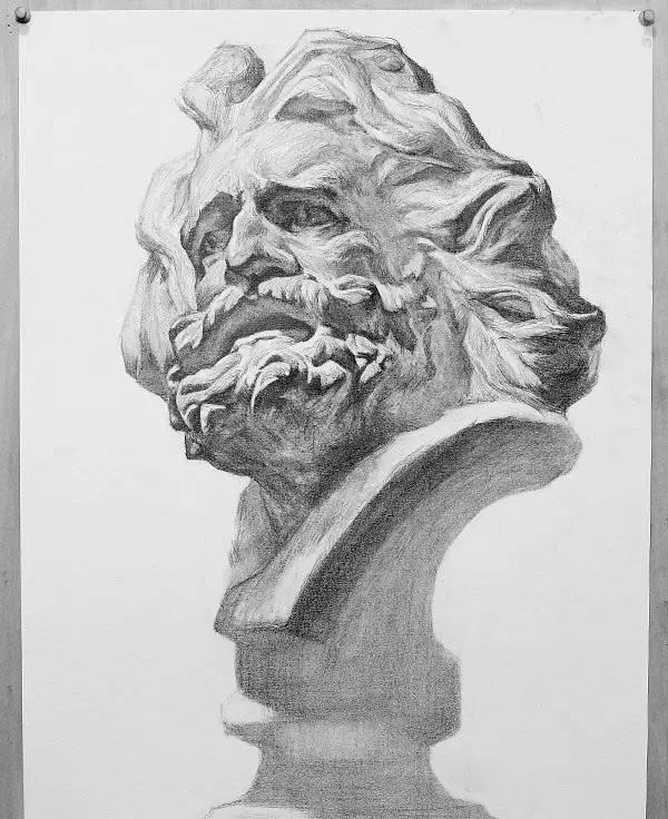 马赛石膏素描步骤图(就那个大胡子!
