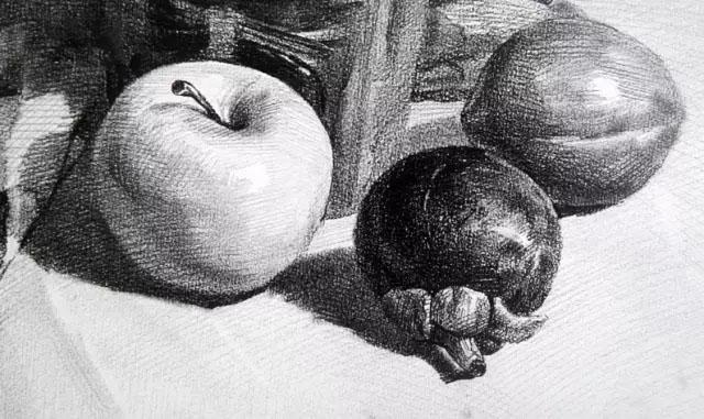 优秀作品素描素描静物苹果山竹柠檬,美术作品图库 美术宝图库