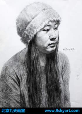 素描头像戴帽子的女青年
