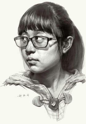 素描头像女青年